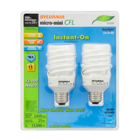 SYLVANIA 2-Pack 23-Watt (100W Equivalent) 6,500K Spiral Medium Base (E-26) Daylight CFL Bulb