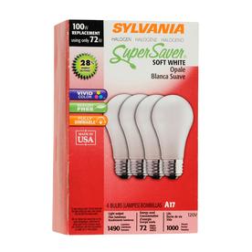 SYLVANIA 4-Pack 72-Watt A19 Medium Base (E-26) Soft White Dimmable Halogen Light Bulbs