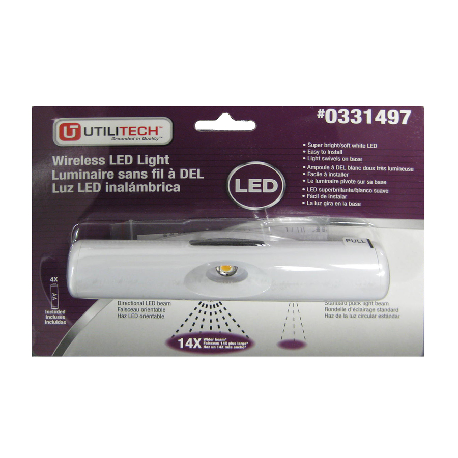 Shop utilitech 6 in battery under cabinet led light bar at - Battery operated kitchen cabinet lights ...