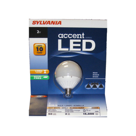 SYLVANIA 2-Watt (6W) G16.5 Candelabra Base Soft White (3000K) Decorative Globe LED Bulb