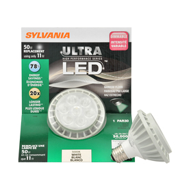 SYLVANIA 11-Watt (50W Equivalent) PAR 30 Shortneck Medium Base (E-26) Warm White Dimmable Outdoor LED Flood Light Bulb