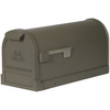 First Class Estate 9-in x 11.125-in Metal Bronze Post Mount Mailbox