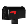 PostMaster 6-7/8-in x 8-3/4-in Metal Black Post Mount Mailbox