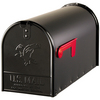 Classic 8-1/8-in x 10-1/2-in Metal Black Post Mount Mailbox