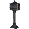 First Class 18-in x 50-1/4-in Metal Black Lockable Post Mount Mailbox with Post