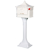 PostMaster 18-in x 50-1/4-in Metal White Lockable Post Mount Mailbox with Post