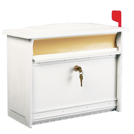 MAILSAFE 16.875-in x 13.375-in Metal White/Brushed Brass Lockable Wall Mount Mailbox