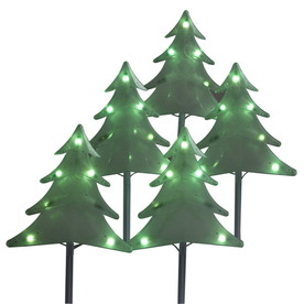 Sienna 5-Count 35-Light Green Christmas Tree Pathway Markers
