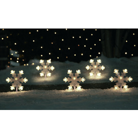Sienna 5-Count 35-Light Clear Shimmering Christmas Snowflake Pathway Markers