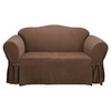 Soft Suede Chocolate Microsuede Loveseat Slipcover