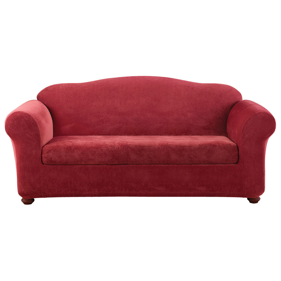 Shop Stretch Pique Garnet Velvet Sofa Slipcover At