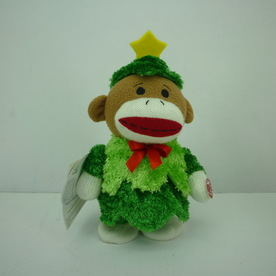 Holiday Living Christmas Polyester Musical Walking Sock Monkey