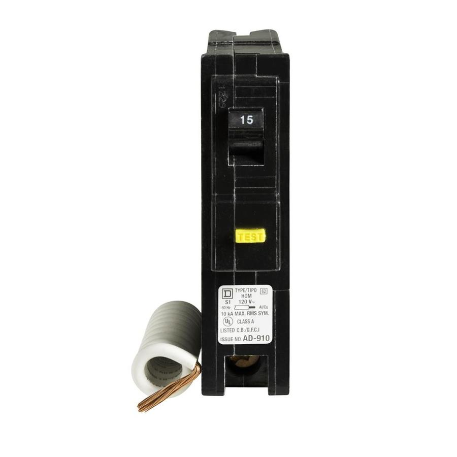 Shop Square D QO 15-Amp 1-Pole Ground Fault Circuit Breaker at