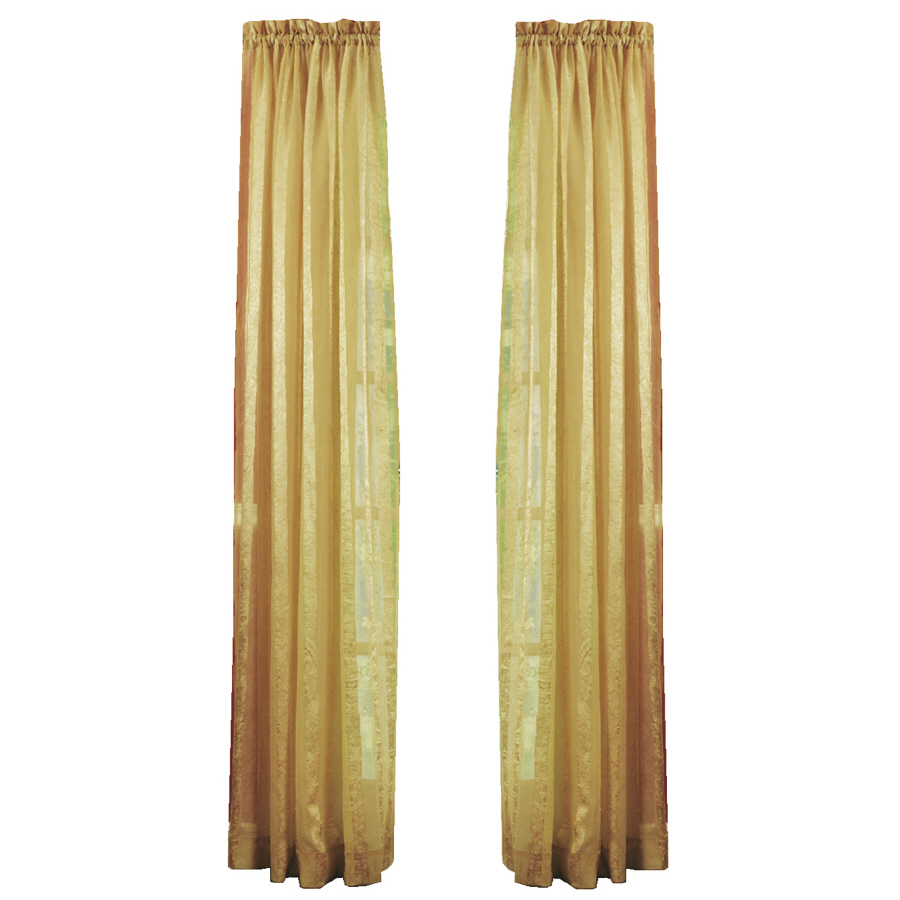 ... 84-in L Striped Gold Rod Pocket Window Sheer Curtain at Lowes.com