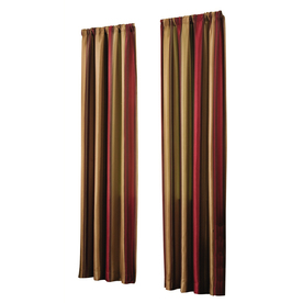allen + roth Alison 95-in L Stripe Red Rod Pocket Curtain Panel