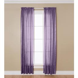 allen + roth Crystal 63-in L Solid Eggplant Rod Pocket Sheer Curtain
