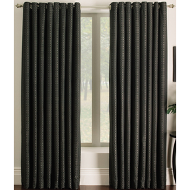 allen + roth Sullivan 84-in Black Polyester Grommet Single Curtain Panel