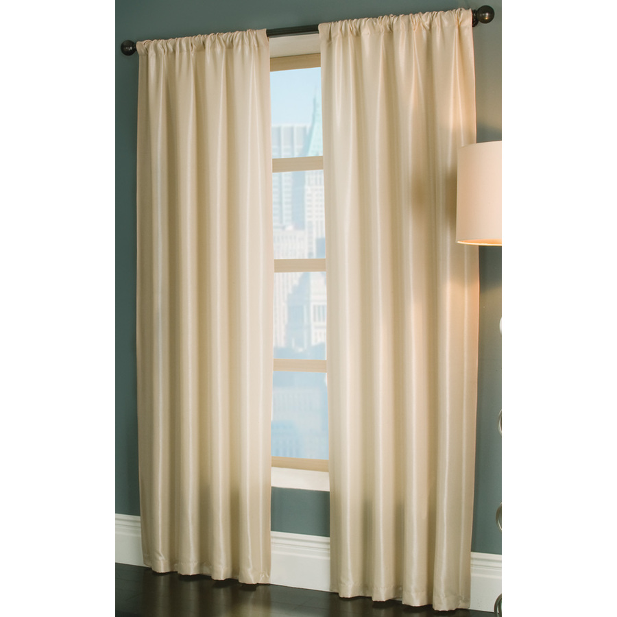 Shop Allen Roth Florence 84 In L Solid Cream Rod Pocket Window Curtain Panel At