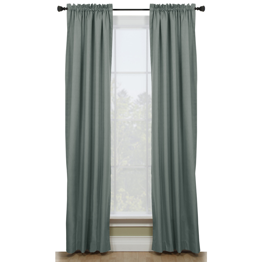... -in L Solid Blue Thermal Rod Pocket Window Curtain Panel at Lowes.com
