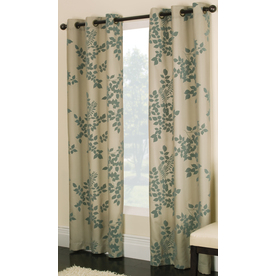allen + roth Waterbury 84-in Blue Cotton Grommet Single Curtain Panel