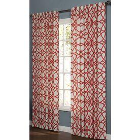 allen + roth Oberlin 84-in L Geometric Paprika Back Tab Window Curtain Panel