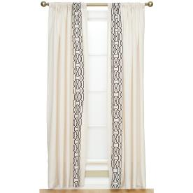 allen + roth Geo 84-in L Geometric White Rod Pocket Window Curtain Panel