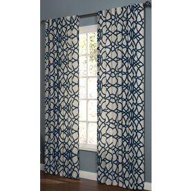 allen + roth Oberlin 95-in L Geometric Navy Back Tab Window Curtain Panel