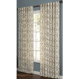 allen + roth Oberlin 95-in L Geometric Straw Back Tab Window Curtain Panel