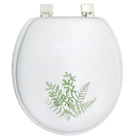 Shop classique fern valley leaves cushioned vinyl round toilet seat at - Commode classique ...