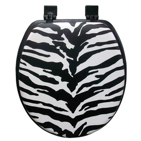 Shop classique zebra stripe zebra stripe cushioned vinyl round toilet seat at - Commode classique ...