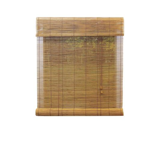 """Zoomed: Ambria 36""""W x 72""""L Fruitwood Roll-Up Shade"""