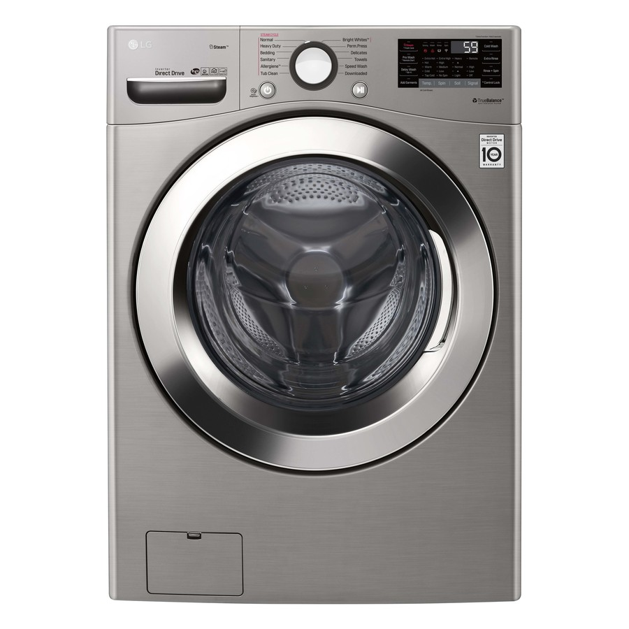 Lg Steam Smart Wi Fi Enabled 4 5 Cu Ft High Efficiency Stackable Steam Cycle Front Load Washer Graphite Steel Energy Star In The Front Load Washers Department At Lowes Com