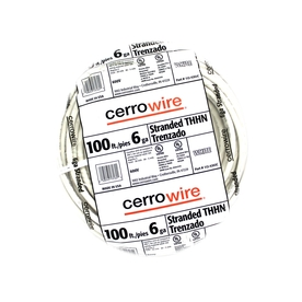 Cerro Wire 100-ft 6 AWG Stranded White THHN Wire