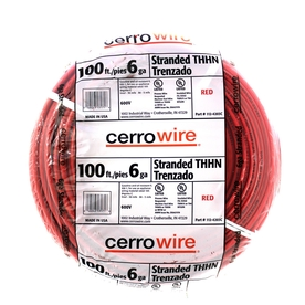 Cerro Wire 100-ft 6 AWG Stranded Red THHN Wire