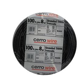 Cerro Wire 100-ft 8 AWG Stranded Black THHN Wire
