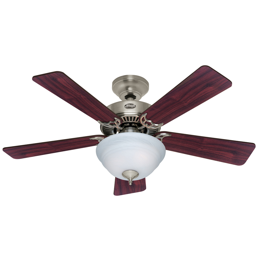 shop hunter 42 in kensington brushed nickel ceiling fan with light kit. Black Bedroom Furniture Sets. Home Design Ideas