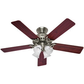 Hunter 52-in Studio Brushed Nickel Ceiling Fan with Light Kit