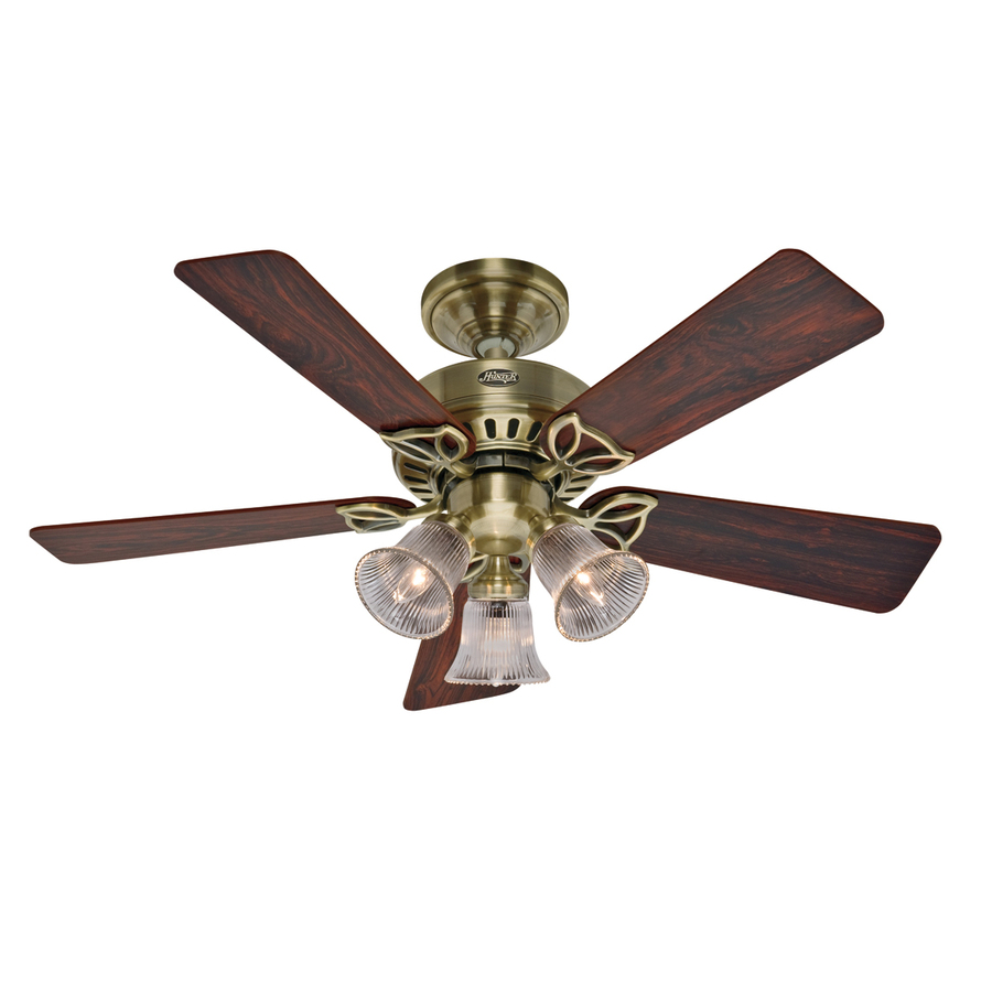 Hunter Ceiling Fan Light Kits Antique Brass: Shop Hunter 42-in Beacon Hill Antique Brass Ceiling Fan