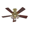 Hunter 42-in The Beacon Hill Hunter Bright Brass Ceiling Fan with Light Kit