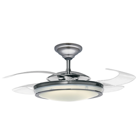 Hunter 48-in Fanaway Brushed Chrome Ceiling Fan with Light Kit and Remote