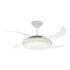 Hunter Fanaway Retractable Blade 48-in White Downrod Mount Ceiling Fan with Light Kit and Remote