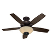 Hunter Concert Breeze 52-in New Bronze Outdoor Downrod or Flush Mount Ceiling Fan with Light Kit and Remote Control