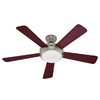 Hunter Palermo 52-in Brushed Nickel Downrod or Flush Mount Ceiling Fan with Light Kit and Remote ENERGY STAR