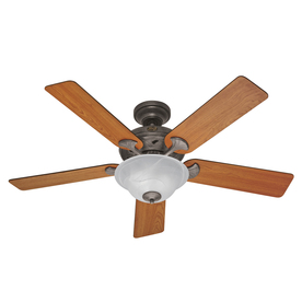 Hunter The Brookline 52-in Provencal Gold Downrod or Flush Mount Ceiling Fan with Light Kit