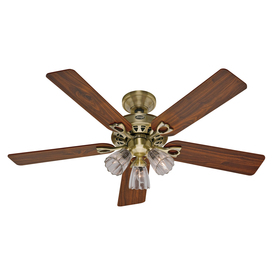 Hunter 52-in Sontera Antique Brass Ceiling Fan with Light Kit and Remote