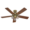 Hunter 52-in The Sontera Antique Brass Ceiling Fan with Light Kit and Remote