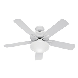Hunter 52-in Beaufort White Outdoor Ceiling Fan with Light Kit