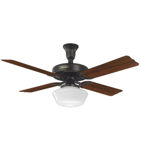 Prestige by Hunter Hotel Original 52-in Satin Black Downrod Mount Ceiling Fan with Light Kit
