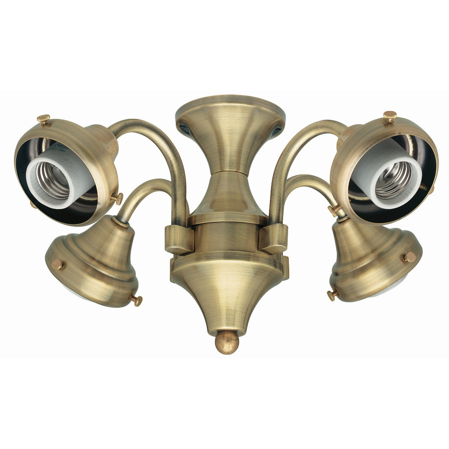 Hunter Ceiling Fan Light Kits Antique Brass: Shop Hunter 4-Light Antique Brass Ceiling Fan Light Kit