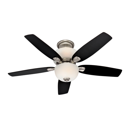 "Zoomed: Hunter 52"" Alden Brushed Nickel Ceiling Fan"